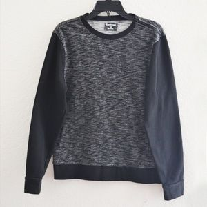 Express Means Sweater Shoulder Zipper Black Gray